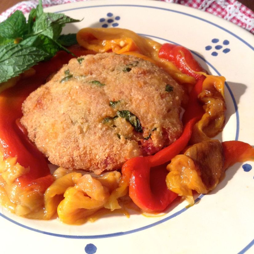 Hambugher mediterranei di merluzzo in crosta dipecorino